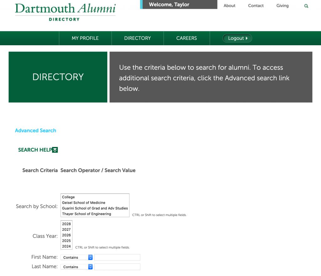 Screenshot of the Dartmouth alumni directory.