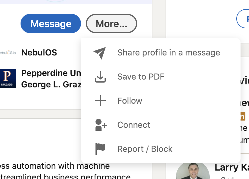 """Click """"more"""" and """"connect"""" to request a connection on LinkedIn."""