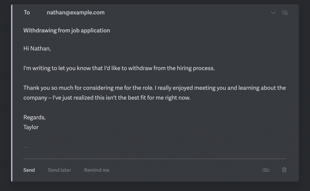 Sample email when withdrawing from a job application process.