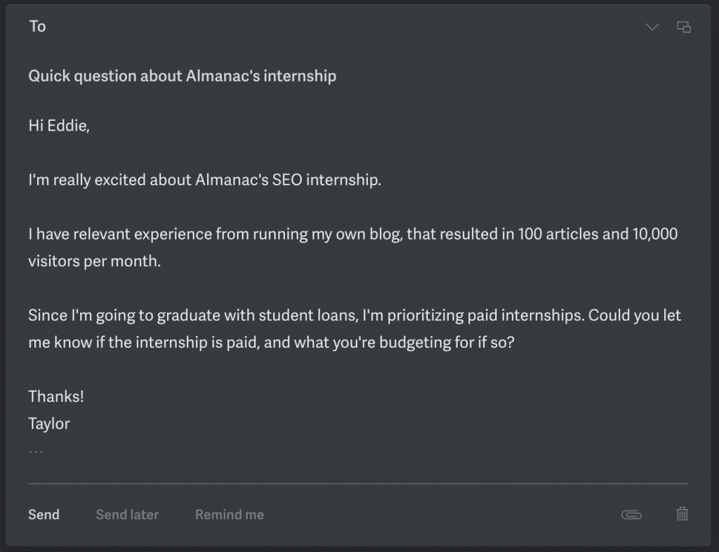 Sample email requesting if an internship is paid.